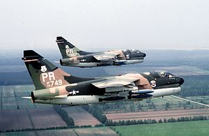 "198th Airlift Squadron -  A-7D Corsair II aircraft (s/n 70-0957, 74–1749) assigned to the 198th Tactical Fighter Squadron during exercise ""Solid Shield 78"" on 1 May 1978."