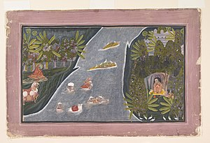 Chokha (painter) - Image: 1 Chokha. Radha Crosses a River to Interview a Hindu Sage ca. 1820 Cynthia Hazen Polsky and Leon B. Polsky Fund