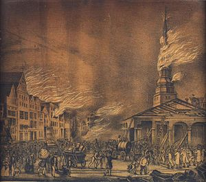 Great fire of Hamburg - Nikolaikirche on fire