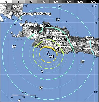 2009 West Java earthquake - Image: 2009 September Java quake shake map USGS
