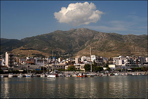 View (from the port) of Karystos city, Evia is...