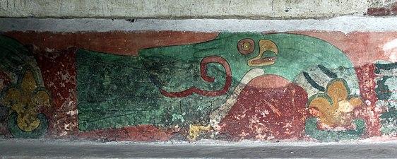 2013-12-23 Procesión de aves verdes, Templo de los Caracoles Emplumados, Teotihuacan 01 anagoria