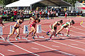 2013 IPC Athletics World Championships - 26072013 - Styliani Smaragdi of Greece, Megan Absten of USA, Anrune Liebenberg of South-Africa and Sheila Finder of Brasil during the Women's 100m - T46 first semifinal 4.jpg