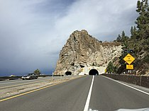 2015-11-01 10 57 02 View east along U.S. Route 50 just west of Cave Rock Tunnel in Douglas County, Nevada.jpg