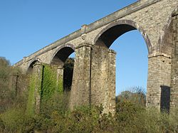 2016 at Carnon viaduct - old piers beside new viaduct.JPG