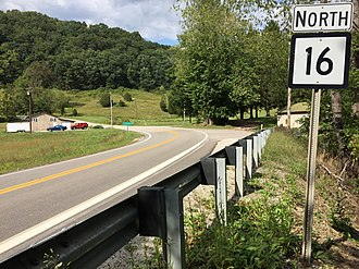 West Virginia Route 16 - View north along WV 16 at CR 16/25 in Calhoun County