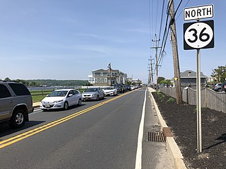 Sea Bright, New Jersey - Route 36, the main highway through Sea Bright