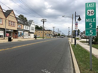 Oaklyn, New Jersey - U.S. Route 30 eastbound in Oaklyn