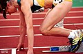 261000 - Athletics track Lisa Llorens starting blocks - 3b - 2000 Sydney race photo.jpg