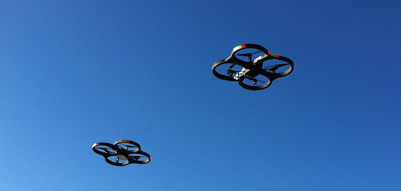 File:2 Parrot AR.Drone 2.0 in flight.jpg