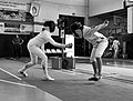 2nd Leonidas Pirgos Fencing Tournament. The fencers Evridiki Koletsou and Persefoni Pantazidi.jpg