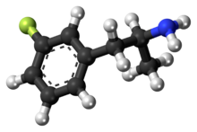 Ball-and-stick model of the 3-fluoroamphetamine molecule