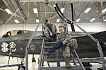 33rd FW fuels system specialist maintain F-35A at Eglin Air Force Base May 2016.jpg