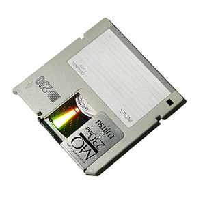 Magneto-optical drive - A 230 MB Fujitsu 90 mm magneto-optical disc.