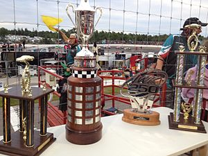 Riverside International Speedway - From left to right: IWK 250 3rd Place Trophy, John W. Chisholm Memorial Cup, IWK 250 Trophy Presented by Steve Lewis Auto Body, IWK 250 2nd Place Trophy