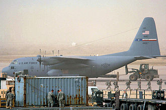 40th Airlift Squadron - C-130 Hercules from Dyess AFB being loaded at Sather AB