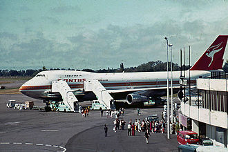 Christchurch International Airport - Passengers disembarking from a Qantas Boeing 747-200 on the apron in 1978