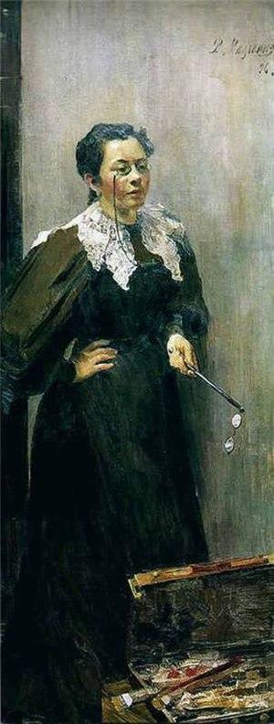 Anna Ostroumova-Lebedeva - Anna Ostroumova-Lebedeva. Portrait by Filipp Malyavin (1896)