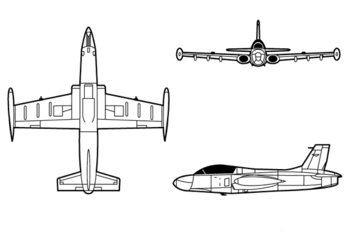 Orthographic projection of the Aermacchi MB-326