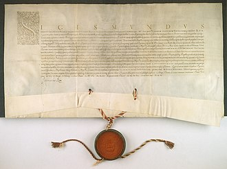 Central Archives of Historical Records - An example document from the archive: Act by Sigismund III Vasa granting to Albrycht Stanisław Radziwiłł the title of Lithuanian Chancellor.
