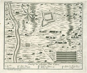 Katuwana fort - 1736 Map of Fort Catuna