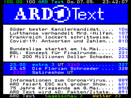 May 2020 teletext page 100 of German public broadcaster ARD