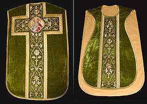 "Ritualism in the Church of England - A ""fiddleback"" chasuble, the use of which by a priest could lead to prosecution"