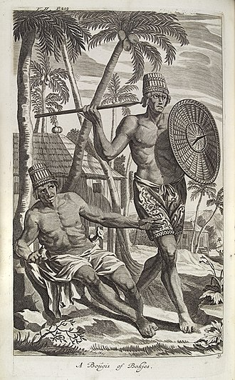 Military history of Indonesia - Bougis warrior armed with spear and shield, c. 1740s