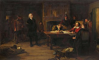 Conventicle Act 1664 - A Conventicle Preacher before the Justices, painting by Robert Inerarity Herdman