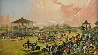 Horse racing at Jacksonville, Alabama, 1841 A Race Meeting at Jacksonville, Alabama by W.S. Hedges - BMA.jpg