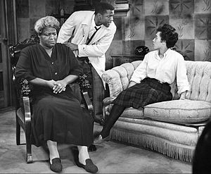 Diana Sands - As Beneatha Younger with Claudia McNeil and Sidney Poitier in the Broadway version of A Raisin in the Sun in 1959.