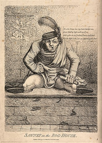 Sawney - Sawney in the bog house, 1779, attributed to James Gillray.