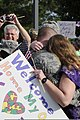 A U.S. Airman from the 169th Fighter Wing gives a hug after returning from Iraq Aug. 29, 2010, at McEntire Joint National Guard Base, S.C 100829-F-XH297-008.jpg
