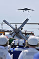 A U.S. Navy X-47B Unmanned Combat Air System demonstrator aircraft passes over the flight deck of the aircraft carrier USS George H.W. Bush (CVN 77) May 14, 2013, in the Atlantic Ocean 130514-N-FE409-190.jpg