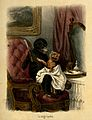 A barber about to shave an unwilling client with anthropomor Wellcome V0011065.jpg