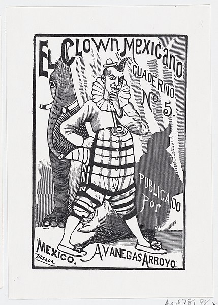 File:A clown standing with one hand on his hip and an elephant peering out from behind a curtain, illustration for 'El Clown Mexicano (The Mexican Clown)' published by Antonio Vanegas Arroyo MET DP869506.jpg