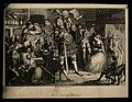 A dwarf on the shoulders of a giant, in a rowdy inn. Etching Wellcome V0007443.jpg