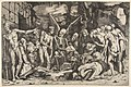 A group of emaciated men and women gathered around a skeleton laid on the ground and a figure of Death as a winged skeleton standing above it holding an open book MET DP818696.jpg