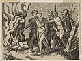A group of men at right pushing philosophers toward a fire with burning books at the left MET DP818654.jpg