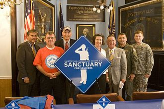 "Fayetteville, North Carolina - Fayetteville becomes the first ""Sanctuary for Soldiers""."