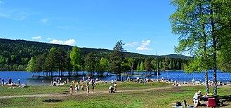 Sognsvann - People enjoying a warm weather at Sognsvann Lake