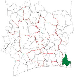 Location in Ivory Coast. Aboisso Department has had these boundaries since 1998.