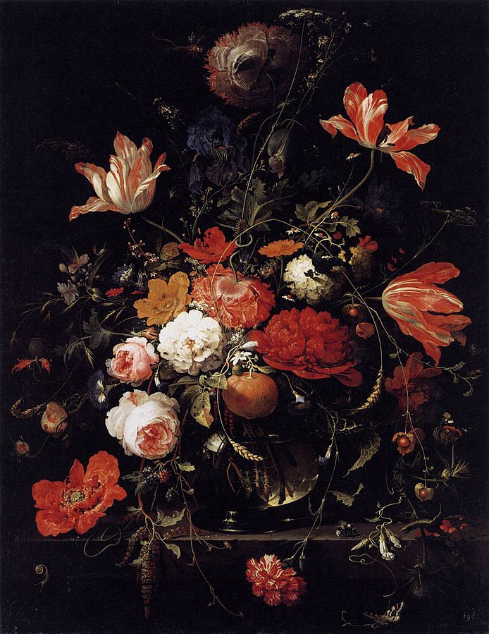 A Glass of Flowers and an Orange Twig