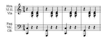 "Accompaniment - A waltz melody, which is usually in triple meter, is often supported by an ""oom-pah-pah""-style accompaniment, which consists of a bass note in beat one followed by a chord that is played twice in beats two and three."