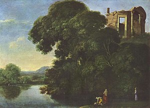 Tivoli, Lazio -  Landscape showing the Temple of Vesta in Tivoli, by Adam Elsheimer, c. 1600
