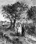 Adolphe Joseph Thomas Monticelli - Landscape with Two Figures (Hagar and Ishmael^) - 26.21 - Museum of Fine Arts.jpg