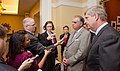 Agriculture Secretary Tom Vilsack (right) and U.S. Department of Transportation (DOT) Secretary Ray LaHood meet with reporters (Pic 3).jpg