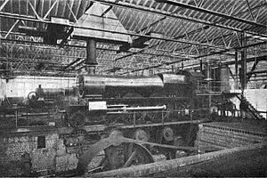 Swindon Works - An early GWR ''Saint'' class, in the period when these were taper-boilered 4-4-2 Atlantics (1905–12), in the testing shop