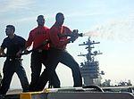 Air department Sailors conduct an aqueous film forming foam (AFFF) system test. (27967790324).jpg