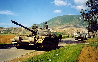 Albanian Armed Forces - An Albanian T-59 tank during the Albania-Yugoslav border incident in May 1999.